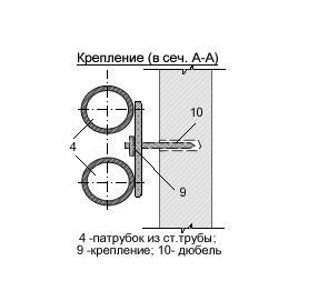Узел присоединения открытой подводки металлополимерных труб к водоразборной арматуре