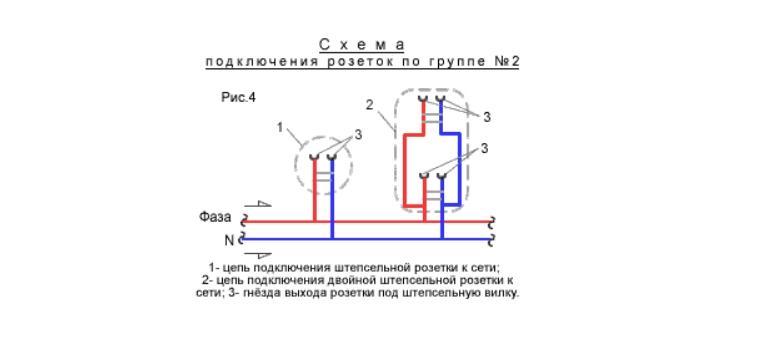 Схема подключения штепсельных розеток