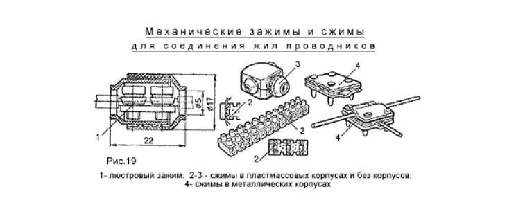 Механические зажимы и сжимыдля соединенияжил проводников