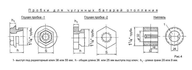Пробки и ниппель для чугунных батарей отопления