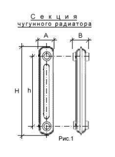 Разрез секции чугунного радиатора