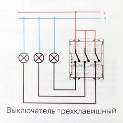 подключения трёхклавишного выключателя